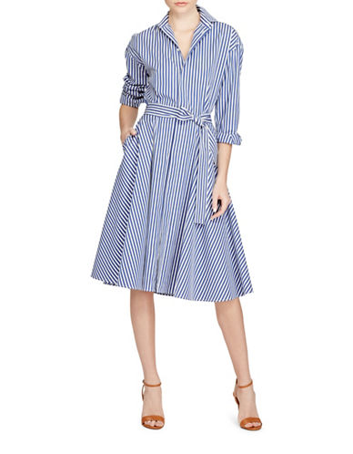 Polo Ralph Lauren Striped Cotton Shirtdress-BLUE-12