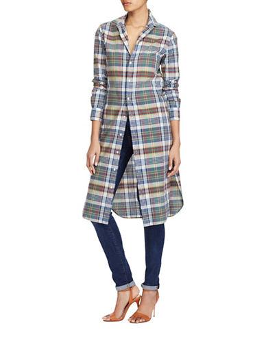 Polo Ralph Lauren Cotton Madras Shirtdress-NAVY-8