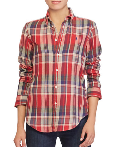 Polo Ralph Lauren Classic-Fit Plaid Cotton Shirt-RED-Medium