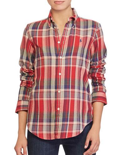 Polo Ralph Lauren Classic-Fit Plaid Cotton Shirt-RED-X-Large