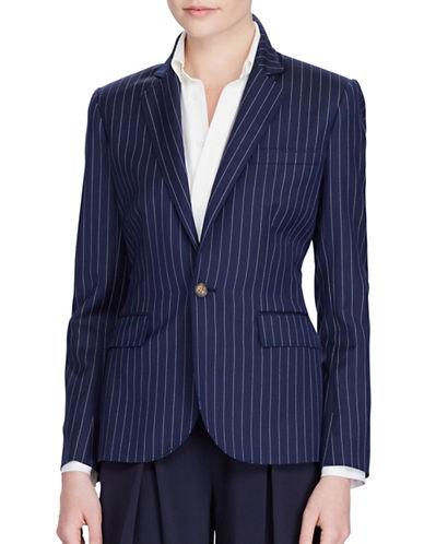 Polo Ralph Lauren Striped Wool Blazer-NAVY-10