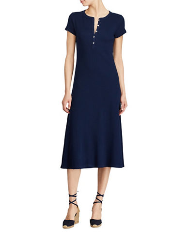 Lauren Ralph Lauren Waffle-Knit Cotton Midi Dress-BLUE-Large