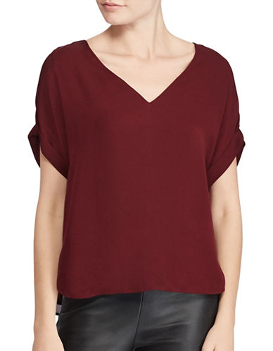 Polo Ralph Lauren Silk Georgette V-Neck Top-RED-X-Large