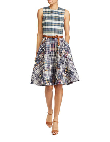 Polo Ralph Lauren Patchwork Fit-and-Flare Dress-BLUE-14