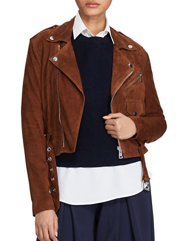 Polo Ralph Lauren Suede Leather Motorcycle Jacket-BROWN-6