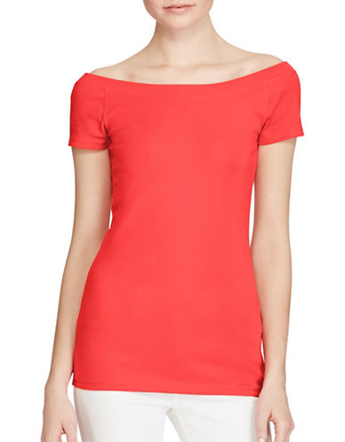 Lauren Ralph Lauren Cotton Off-The-Shoulder Top-RED-X-Large