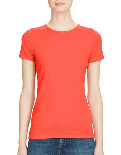 Lauren Ralph Lauren Stretch Cotton Knit Tee-RED-Small