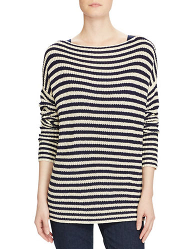 Lauren Ralph Lauren Striped Boat neck Sweater-NAVY-Large