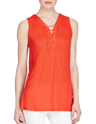 Lauren Ralph Lauren Lace-Up Linen Top-RED-Small