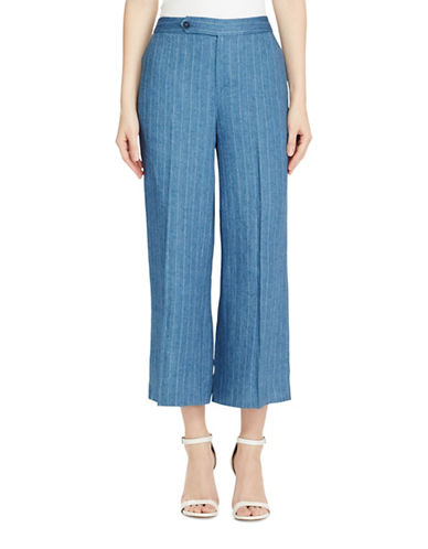 Lauren Ralph Lauren Linen Wide-Leg Pant-BLUE-8