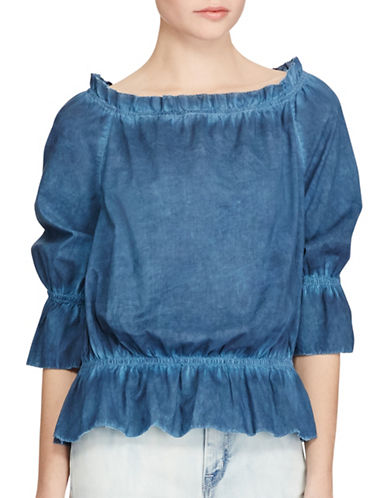 Lauren Ralph Lauren Cotton Off-the-Shoulder Top-INDIGO-Large