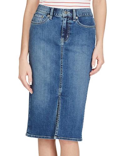Lauren Ralph Lauren Stretch Denim Pencil Skirt-BLUE-6 89255046_BLUE_6
