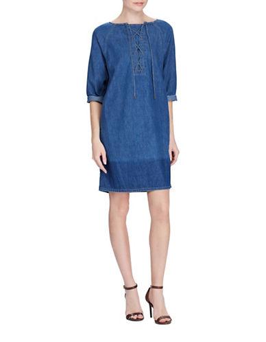 Lauren Ralph Lauren Lace-Up Denim Shift Dress-BLUE-Small