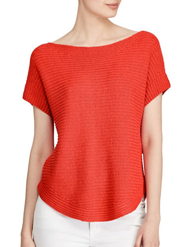 Lauren Ralph Lauren Short Sleeve Boat Neck Sweater-RED-Medium