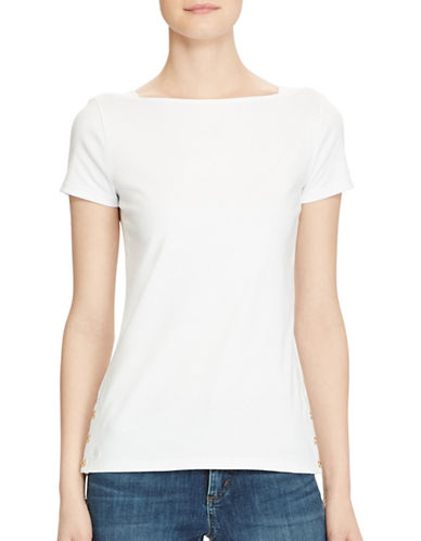Lauren Ralph Lauren Short Sleeve Boat Neck Tee-WHITE-Medium