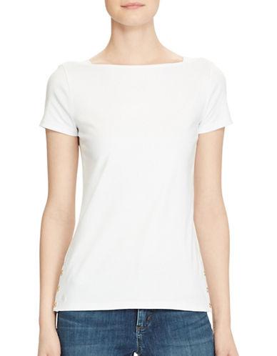 Lauren Ralph Lauren Short Sleeve Boat Neck Tee-WHITE-X-Large 89255143_WHITE_X-Large