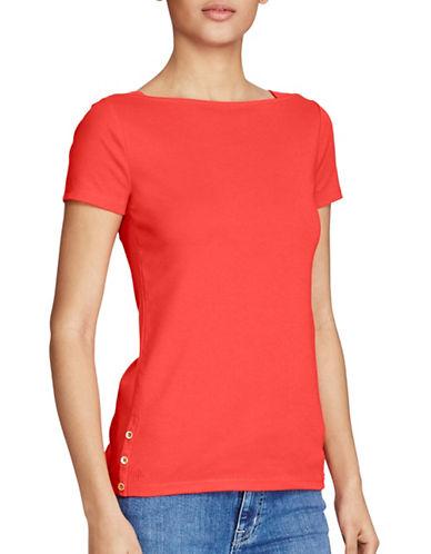 Lauren Ralph Lauren Short Sleeve Boat Neck Tee-RED-X-Large