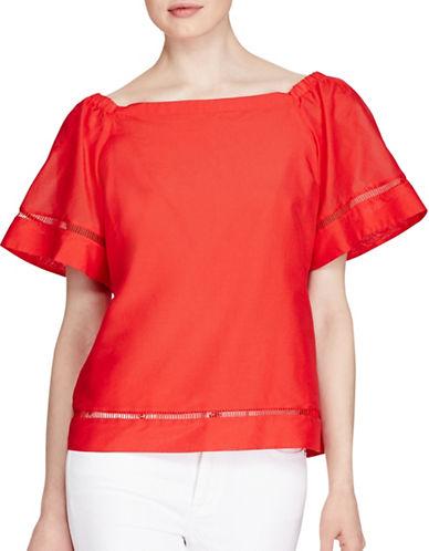 Lauren Ralph Lauren Cotton-Silk Off-the-Shoulder Top-RED-X-Large