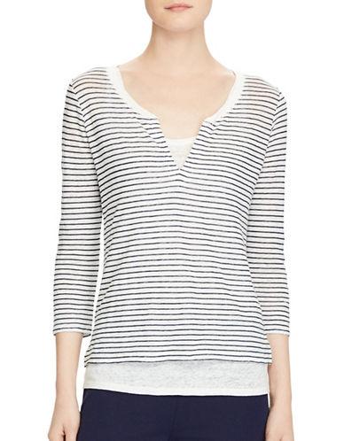 Lauren Ralph Lauren Striped Linen Jersey Shirt-WHITE-Large