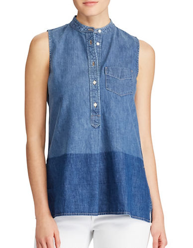 Lauren Ralph Lauren Sleeveless Denim Shirt-BLUE-Small 89255225_BLUE_Small