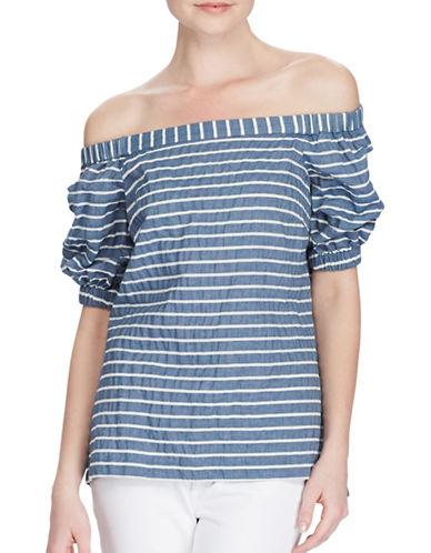 Lauren Ralph Lauren Striped Off-the-Shoulder Top-BLUE-X-Large