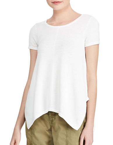 Lauren Ralph Lauren Handkerchief Hem T-Shirt-WHITE-Large 89255264_WHITE_Large