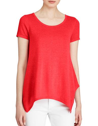Lauren Ralph Lauren Handkerchief-Hem Tee-RED-Medium