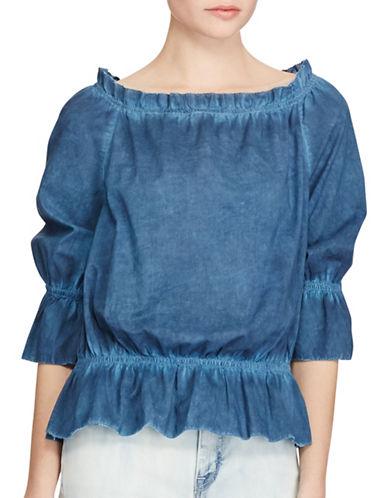 Lauren Ralph Lauren Petite Cotton Off-The-Shoulder Top-INDIGO-Petite Large