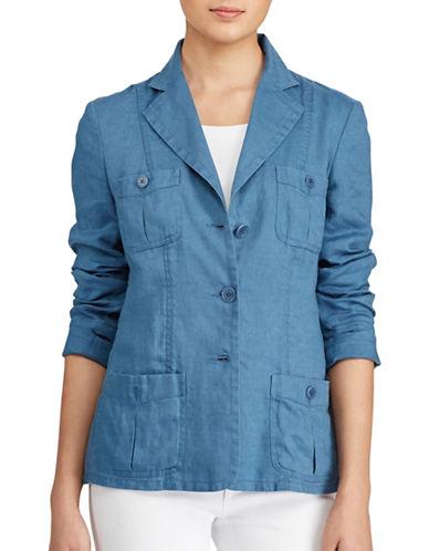 Lauren Ralph Lauren Petite Linen Three-Button Blazer-DARK SLATE-Petite 8