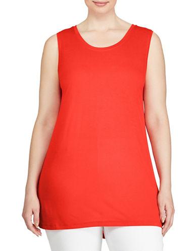 Lauren Ralph Lauren Plus Sleeveless Jersey Top-RED-1X 89160969_RED_1X