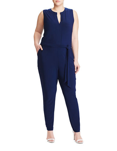 Lauren Ralph Lauren Plus Stretch Jersey Jumpsuit-BLUE-3X