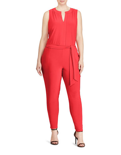 Lauren Ralph Lauren Plus Belted Jumpsuit-RED-2X