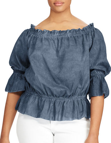 Lauren Ralph Lauren Plus Cotton Off-the-Shoulder Top-BLUE-3X