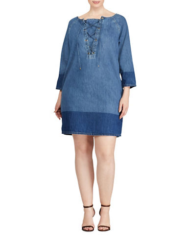 Lauren Ralph Lauren Plus Lace-Up Denim Shift Dress-BLUE-3X