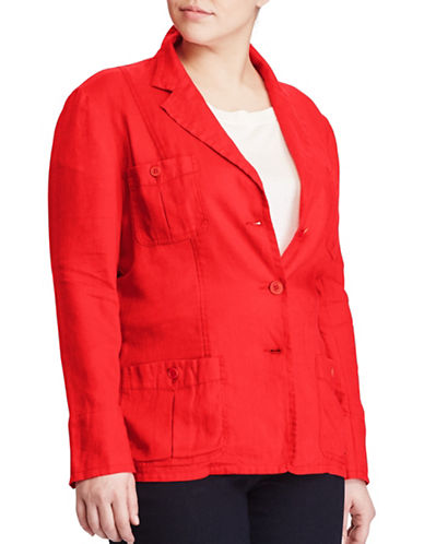 Lauren Ralph Lauren Plus Linen Three-Button Blazer-RED-14W