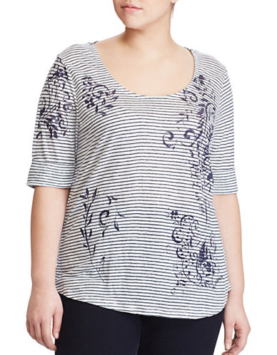 Lauren Ralph Lauren Plus Linen Scoop Neck Tee-WHITE MULTI-1X