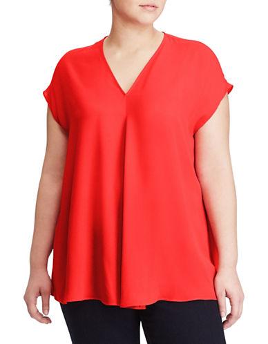 Lauren Ralph Lauren Plus Georgette Short-Sleeve Top-RED-1X