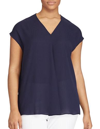 Lauren Ralph Lauren Plus Georgette Short-Sleeve Top-BLUE-3X