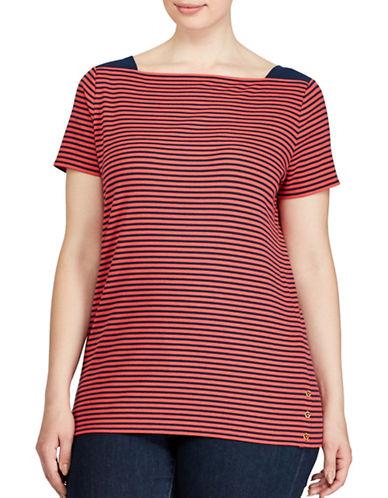 Lauren Ralph Lauren Plus Striped Top-RED MULTI-1X