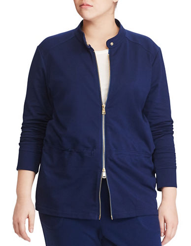 Lauren Ralph Lauren Plus Full-Zip Jacket-BLUE-1X 89161027_BLUE_1X