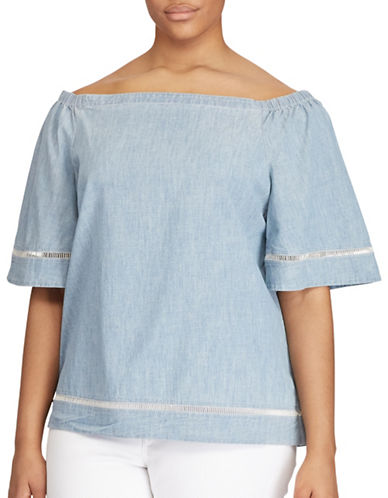 Lauren Ralph Lauren Plus Chambray Off-the-Shoulder Top-BLUE-2X