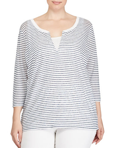 Lauren Ralph Lauren Plus Striped Tee-WHITE-1X