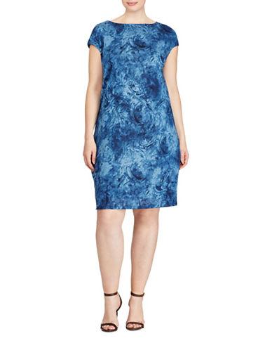 Lauren Ralph Lauren Plus Linen Jersey Shift Dress-BLUE MULTI-1X