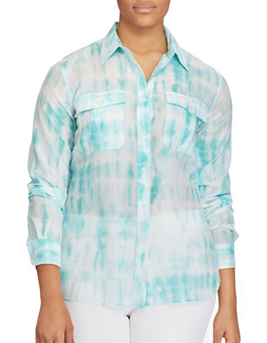 Lauren Ralph Lauren Plus Tie-Dye Button-Down Shirt-GREEN-3X