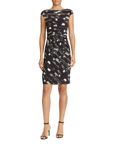 Lauren Ralph Lauren Abstract-Print Sheath Dress-BLACK/CREAM-14