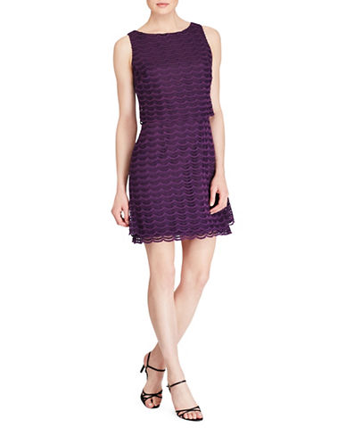 Chaps Lace Overlay Sheath Dress-EGGPLANT-16