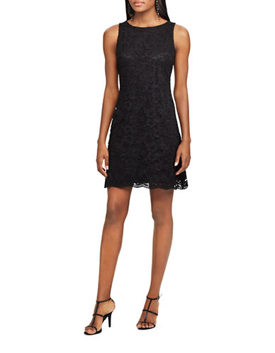 Chaps Lace Shift Dress-BLACK-2
