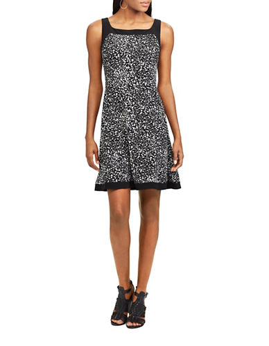 Chaps Abstract Printed Jersey Fit-and-Flare Dress-BLACK/CREAM-Large