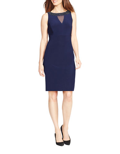 Chaps Beaded Faux-Wrap Dress-CAPRI/NAVY-14