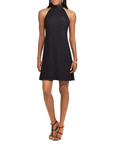 Chaps Gemma Mock Neck Jersey Dress-BLACK-X-Large